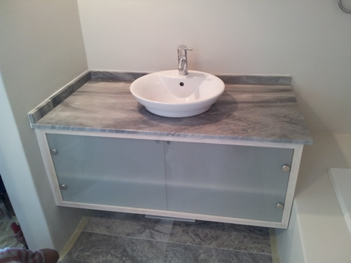 Custom hand made solid wood marble glass bathroom cabinet